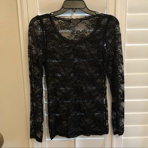 Sheer black lace top - M